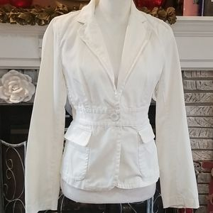 J. Crew fitted off white cotton blazer, size 6